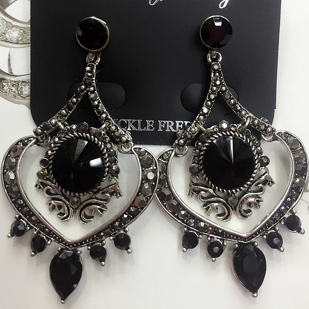 Black Glass Heart Pendant Fashion Long Earring Women ...