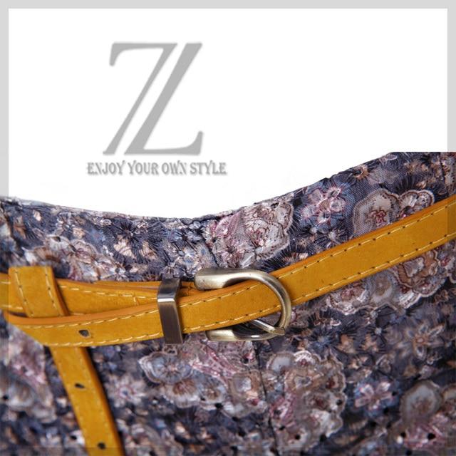 Women's nubuck leather thin belt metal pin buckle strap belly chain fashion waist decoration yellow