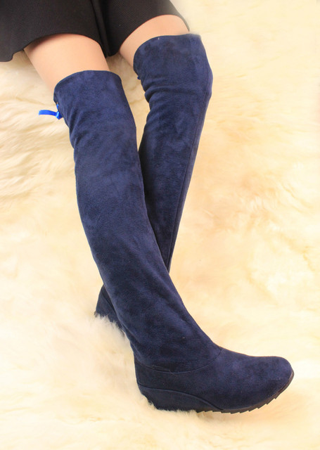 dffdd190852c New Arrival Women Snow Boots Shoes Stretch Knee High Boots Wedge Heels Winter  Shoes Less Platform Womens Ankle Boots Navy Blue