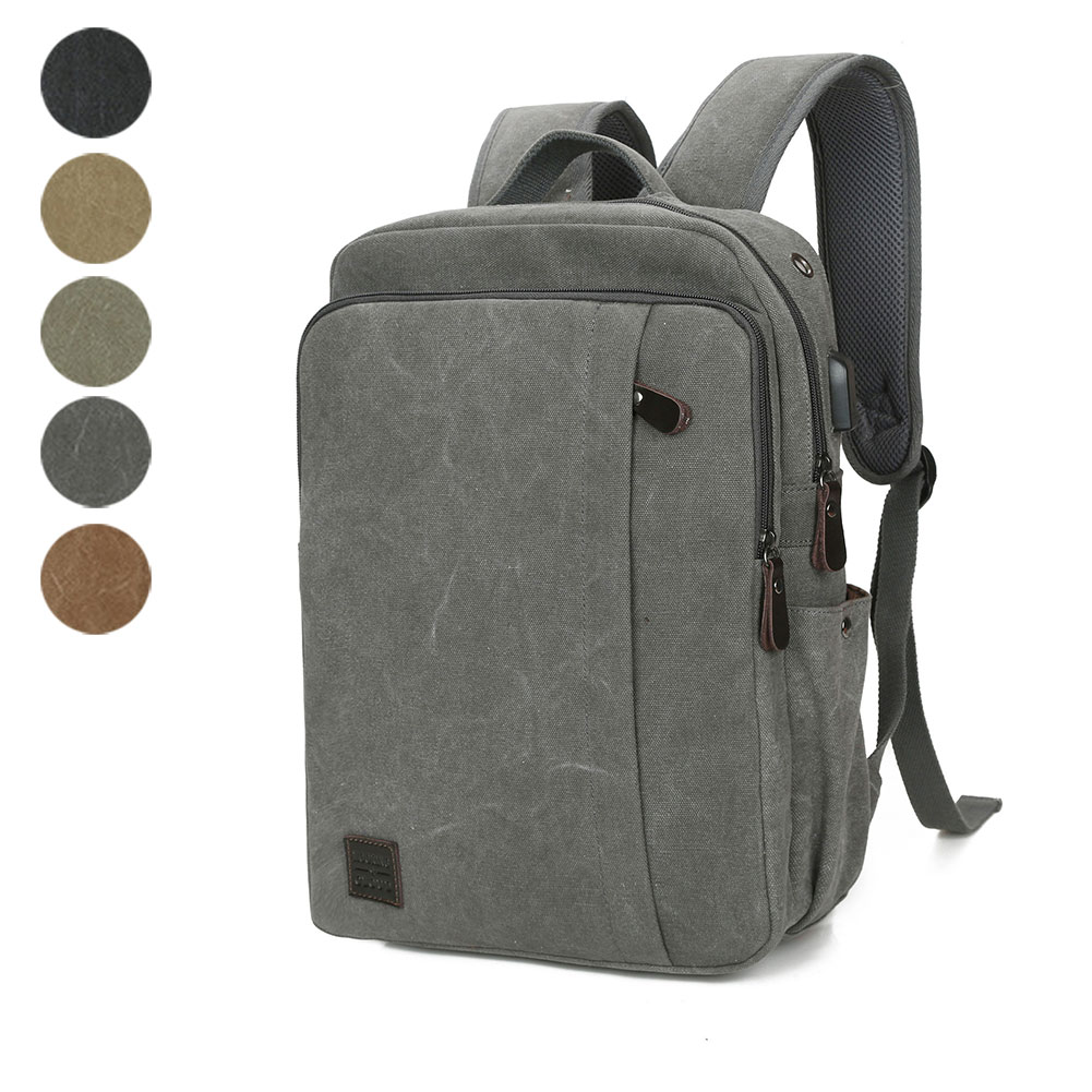Vintage Canvas Backpack Student Large School Backpack Teenagers Rucksack USB Charge Computer Bag Travel LT88