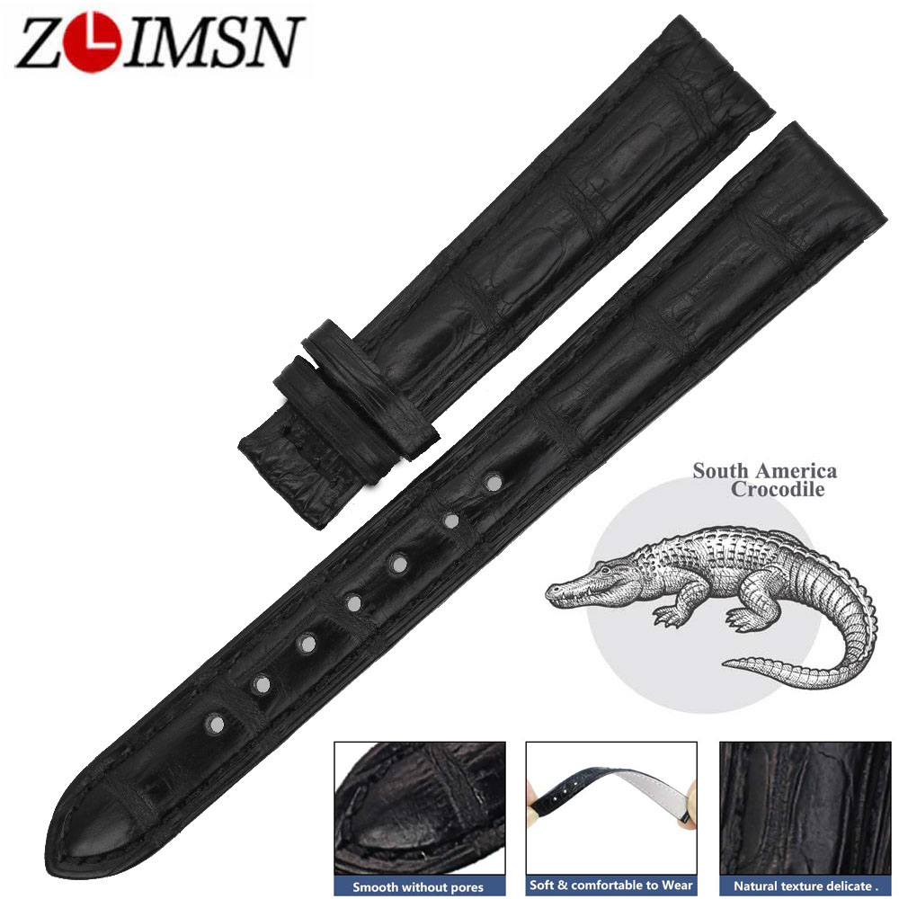 ZLIMSN New Real Alligator Watch Strap black Genuine Leather Watch Bands 12 - 24mm For Men Or Women Luxury Crocodile Watchband women crocodile leather watch strap for vacheron constantin melisa longines men genuine leather bracelet watchband montre