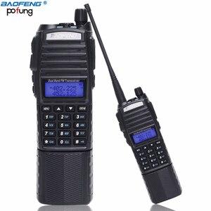 Image 1 - BaoFeng Walkie Talkie UV 82 5w bateria 3800mah 10 cinco quilômetros Nos Dois sentidos cb ham rádio portátil poderoso handheld Dual PTT uv82 Rádio caça