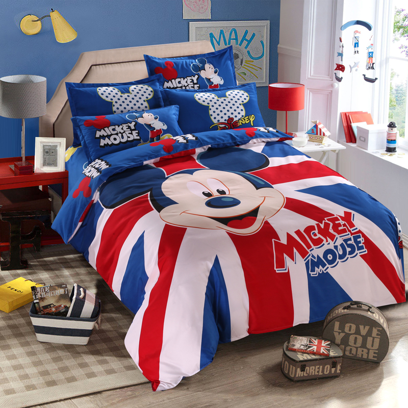 Kids Mickey Mouse Bedding Set Boys/Girls Duvet Cover British Flag Cartoon Pattern Flat Sheet Full Queen Twin Size Bed Linen Kids Mickey Mouse Bedding Set Boys/Girls Duvet Cover British Flag Cartoon Pattern Flat Sheet Full Queen Twin Size Bed Linen