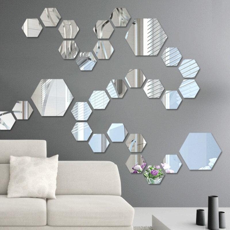 Aliexpress.com : Buy P flame Acrylic Hexagon Mirror Wall ...