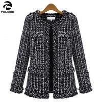 FOLOBE Women Spring Wool Coats Black White Plaid Casual Jackets Fashion Office Lady Wear Long Sleeve Casual Tops Outerwear