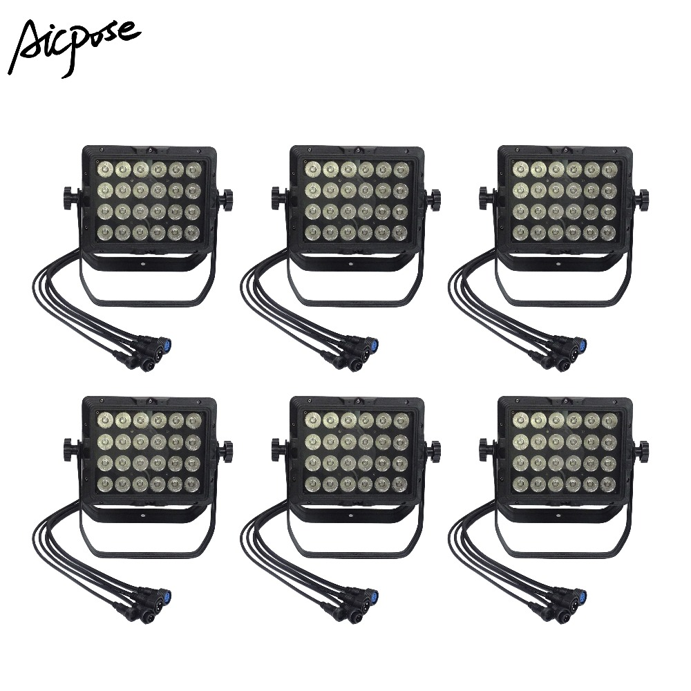 Stage Lighting Effect Confident 6pcs/lots Outdoor Rainproof Wall Washer Light 24x18w Rgbwa Uv 6in1/ 4in1/ 5in1 Square Par Light Ip65 Waterproof Stage Light Selected Material