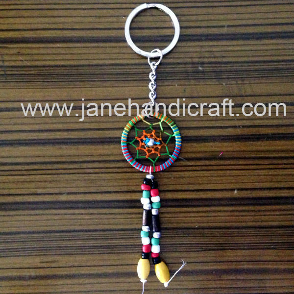 Shipping Free 2016 fashion colourful Native American Dream Catcher keychain Handmade keychain indian keychain