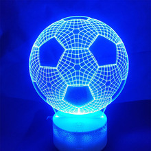 football 3D USB Table Lamp Acrylic LED Night Light Touch 7 Color Party home Decorative kids gift Toy
