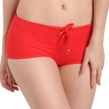 2017 New Arrival Brazilian Bikini Bottoms Swimsuit Scrunch Shorts High Waist Short Panty Drawstring Underwear Red Trunks Women