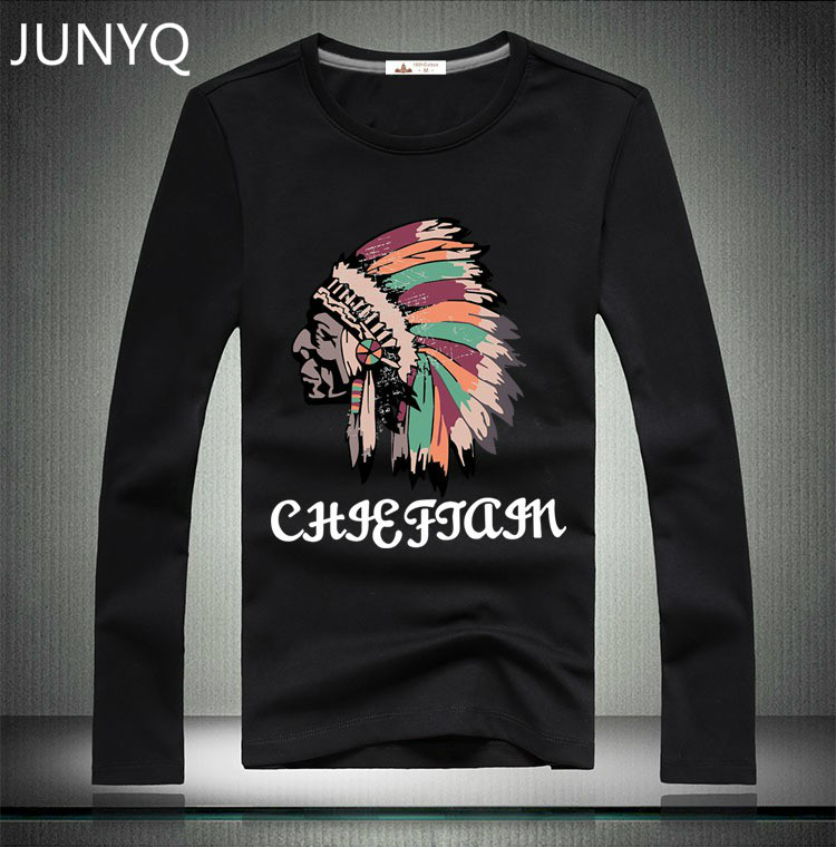 Free shipping 2017 New fashion Famous brand hollistic Tribal people printing t shirt men T-shirt long sleeve style t-shirt Tops