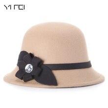 9ce5799651d YIFEI 2018 Women Winter Warmer Fedora Hat Diamond Bowknot Wool Beanies For  Women Cloche Bucket Ladies Hats Autumn Skullies Cap