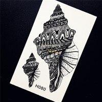 1PC Sexy Summer Beach Makeup Fake Tattoo Black Shell Conch Design Temporary Tattoo Body Art Sticker Women Arm Tatoo Henna HH080