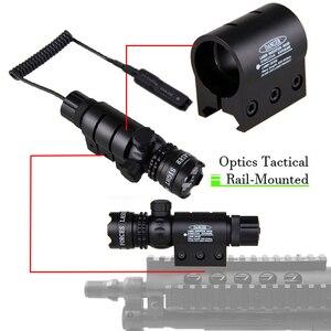Image 3 - Taktische Jagd Laser Montieren Grün Dot Laser Anblick Gewehr Pistole Umfang 20mm Airsoftsport Schiene & Barrel Druck Schalter Montieren