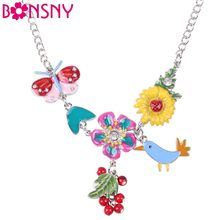 Bonsny Statement Bird Enamel Flower Necklace Alloy Long Chain Pendants 2016 New Jewelry For Women Charm Collares Accessories(China)