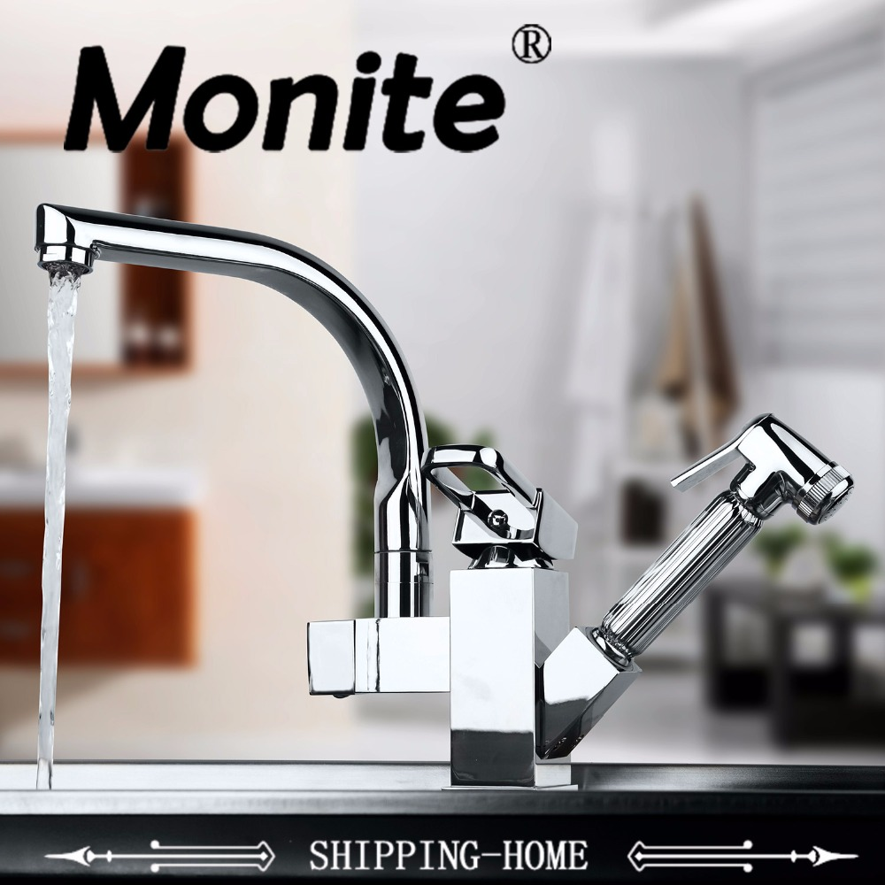 Torneira Cozinha.Polished Chrome Brass Double Spouts 360 Degree&Pull Out Kitchen Faucet.Kitchen Tap Sink Mixer newly arrived pull out kitchen faucet gold sink mixer tap 360 degree rotation torneira cozinha mixer taps kitchen tap