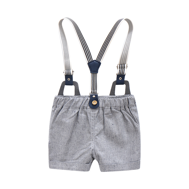 Fall European Style Boys set Suspender and Shorts Set toddler baby blue gray