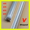 V-Shaped 4ft 5ft 6ft 8ft Cooler Door Led Tubes T8 Integrated Led Tubes Double Sides SMD2835 Led Fluorescent Lights AC 85-265V