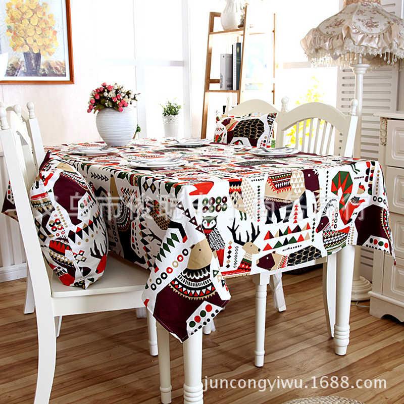 ช้าป่าผ้าปูโต๊ะคริสต์มาส Elk ผ้าฝ้ายตารางหนาตารางสีฟ้าสีน้ำตาลตารางผ้าตารางสี่เหลี่ยมผืนผ้า