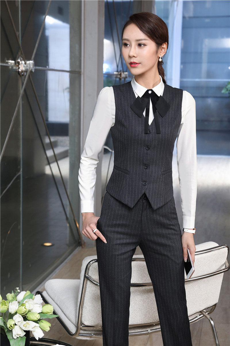 Uniform Designs Pantsuits Fashion Striped Vest Coat & Waistcoat And Pants And Blouses For Ladies Business Pants Suits With Tie