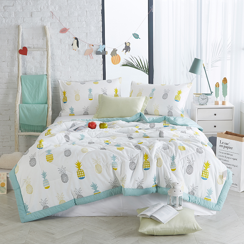 Papa&Mima Pineapple print Summer Comforter NO pillowcases Twin Queen Size Polyester Fabric  Air conditioning Quilt Papa&Mima Pineapple print Summer Comforter NO pillowcases Twin Queen Size Polyester Fabric  Air conditioning Quilt