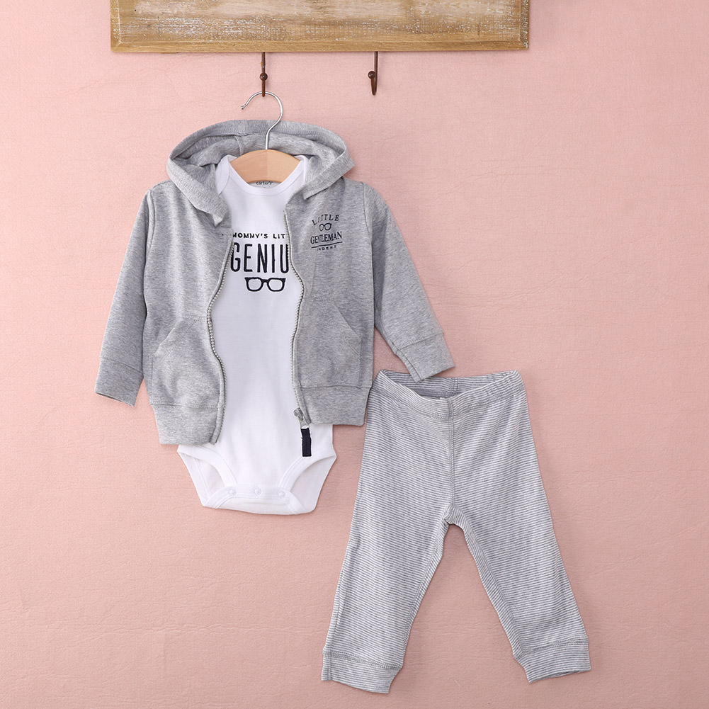 3fa559b3bd3d 3Pcs Newborn Baby Boy Long Sleeve Hoodies Coat+Romper+Pants Outfits cotton  casual Warm Clothes set