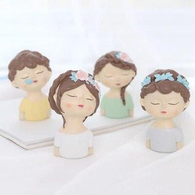Garçon et fille avec feuilles fleurs moule en silicone mignon avatar moules à la main ange tête moule pour gâteau décoration argile de résine arôme ston
