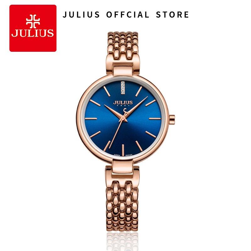 Saatler'ten Kadın Saatleri'de JULIUS Kadın Saatler Tasarımcıları Bilezikler Ile Su Geçirmez 30 M Kuvars Elbise Izle Gümüş Gül Altın Moda Saat Saat JA 960'da  Grup 1