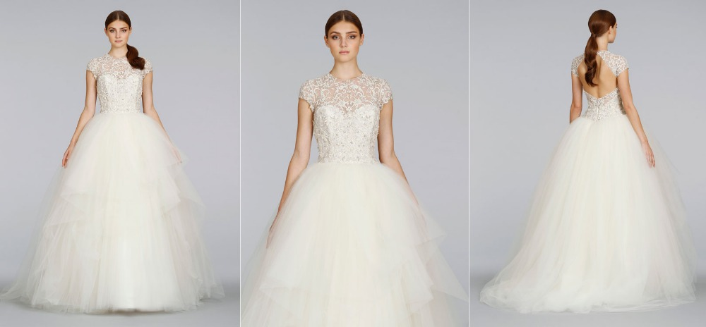 65Lace High Neckline Ball Gown Wedding Dresses Cap Sleeves Keyhole Back  Floor Length Ribbon Belt Tulle Pickups Sweep Train Ivory-in Wedding Dresses  from ... d5f35bd98603