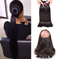 360 Lace Frontal Closure With Bundles Brazilian Straight Hair With Closure 3pcs Human Hair Bundles With 360 Frontal Lace Closure