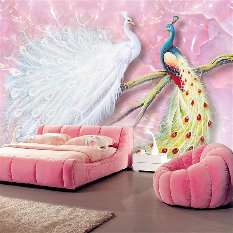 custom 3d HD stereoscopic modern wallpaper bedroom indoor background wall mural pink romance peacock jade carving wallpaper custom baby wallpaper snow white and the seven dwarfs bedroom for the children s room mural backdrop stereoscopic 3d