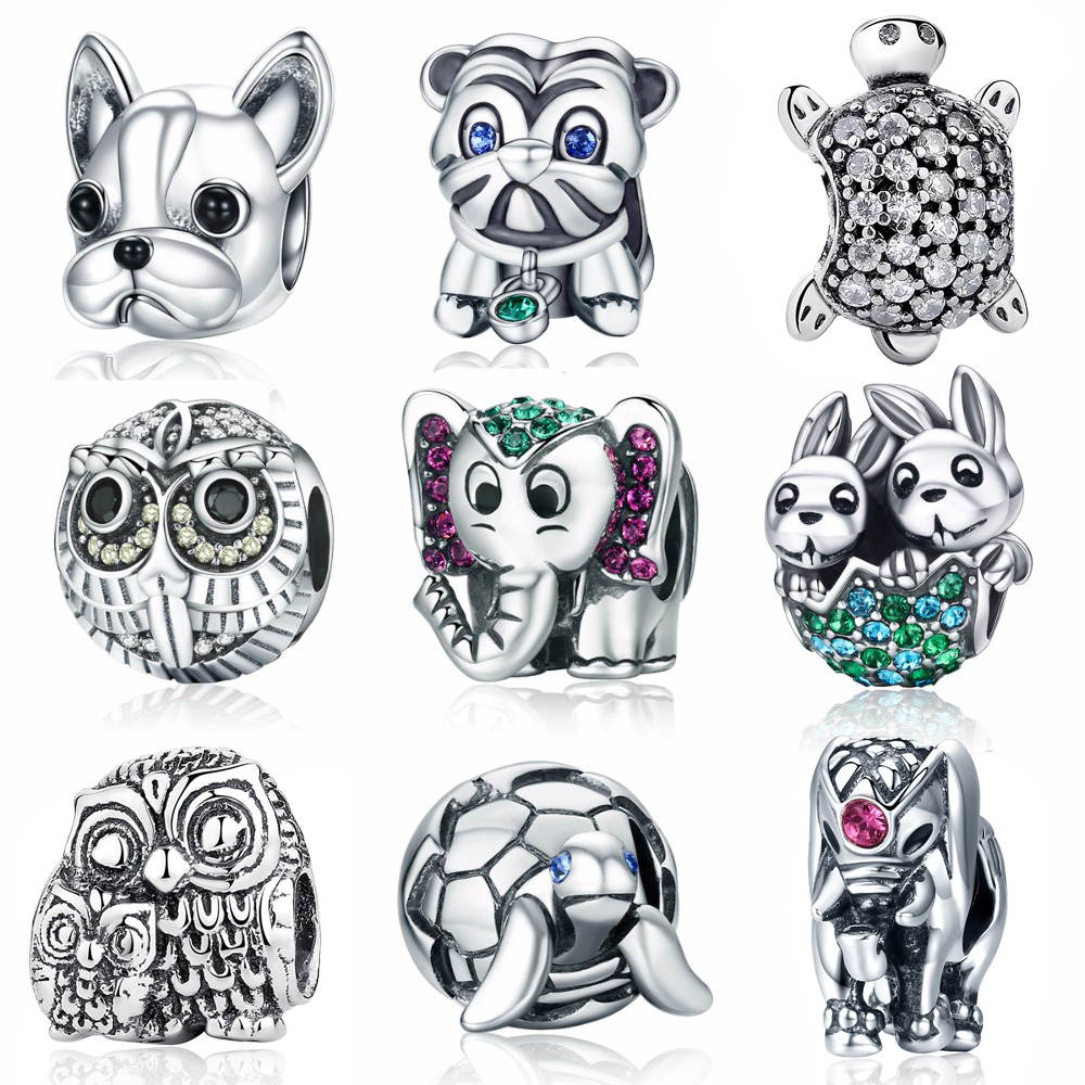 Valentine Day Gift 925 Sterling Silver Animal Owl Elephant Pussy Dog Cat Fish Charm Bead ...