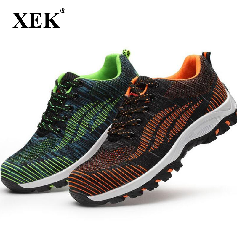 XEK Mesh Men Boots Work Safety Shoes Steel Toe Cap For Anti Smashing Puncture Proof Durable