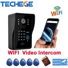 2016 Беспроводной сенсорный водонепроницаемый WI-FI Видео-телефон двери интерком дверной звонок ip cloud p2p android/ios APP разблокировка сигнализации движения