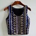 2015 Nuevo de Las Mujeres sin mangas t-shirt bling que chispea lentejuelas decoración estilo nacional del o-cuello blusas para mujer, SB493