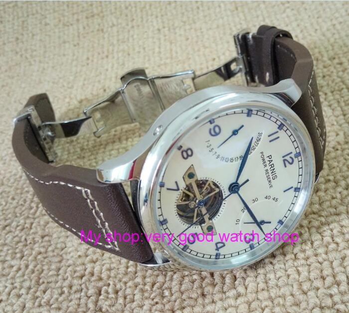 43MM PARNIS Butterfly buckle <font><b>ST2530</b></font> Automatic Self-Wind movement white dial power reserve men's watch Leather Strap 237A image