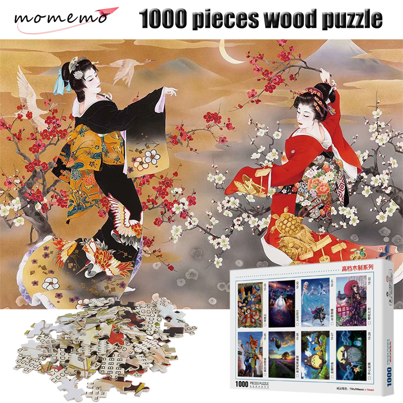 MOMEMO Japanese Geisha Puzzle 1000 Pieces Wooden Assembling Puzzles Game Adult Entertainment Puzzle 1000 Pieces Toys For Kids
