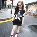 little teenage girls t-shirts dress long sleeve red pink black spring autumn t shirts dress for girls tops children clothing