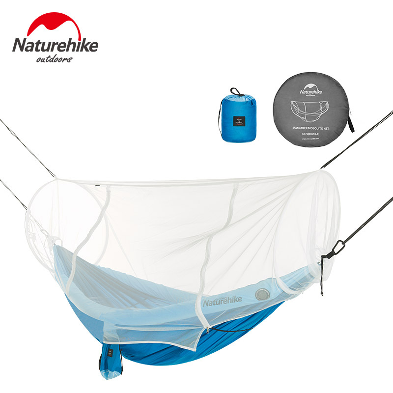Naturehike 1-2 Person Outdoor Hammock Camping Hanging Sleeping Bed Swing Portable Double Chair Hamac with Mosquito Net 1 2 person mosquito net parachute hammock outdoor camping hanging army green sleeping bed swing portable double chair hamac