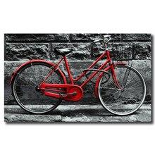 Vintage bicicleta roja en adoquines ciudad histórica en la lluvia HD arte lienzo póster pintura impresión de imagen de pared hogar dormitorio Decoración