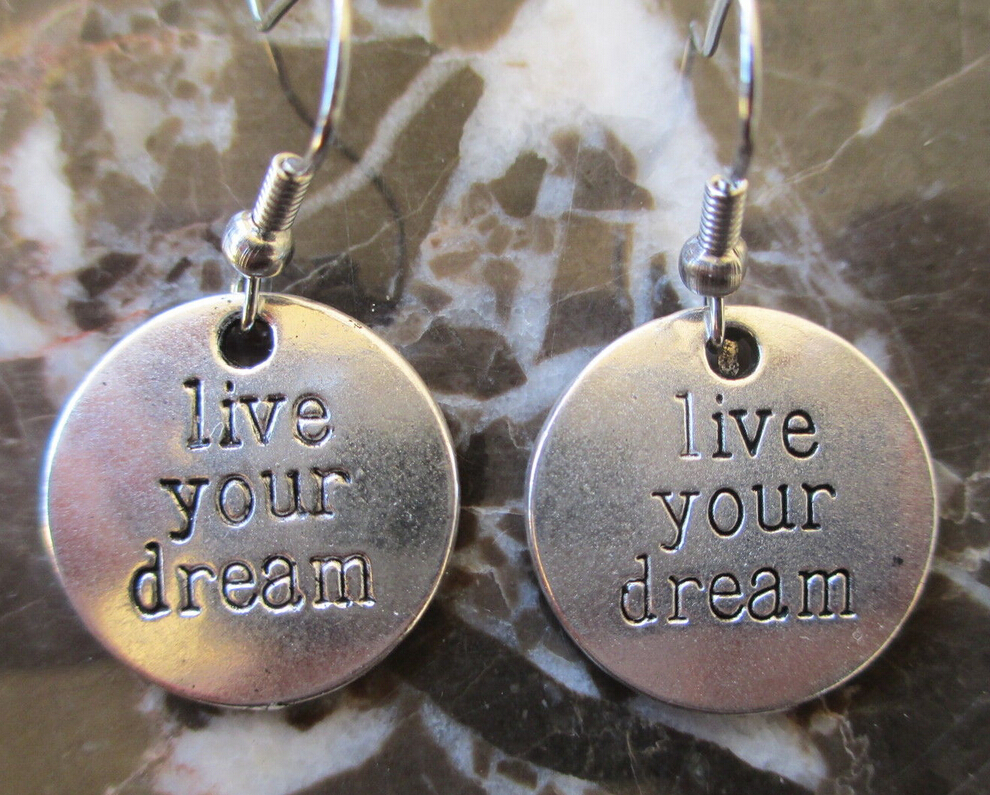 Lot Antique Silver Live Your Dreams Tag Charm Costume Dangle Earrings  Fashion Wholesale Jewelry Holiday Gifts Q257