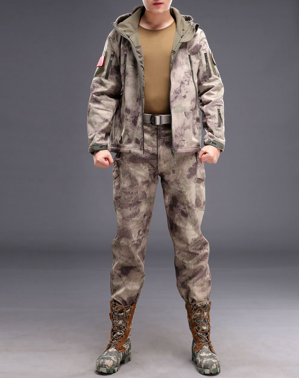 Camouflage hunting clothing Shark skin soft shell lurker tad v 4.0 outdoor tactical military fleece jacket + uniform pants suits lurker shark skin soft shell v4 military tactical jacket men waterproof windproof warm coat camouflage hooded camo army clothing