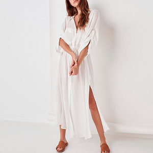 Image 3 - Peachtan White beach cover up dress Tunic long pareos bikinis Cover ups swimsuit Cover up Beachwear T shirts for women 2019 new