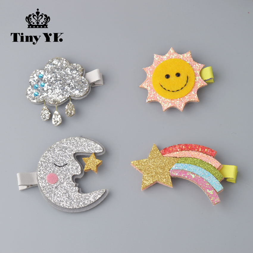 Personality Sun/Moon/Cloud/Rainbow hairpins Sparking Kids Barrettes Decoration Girl Hair Accessory kids hair clips accessories moon flac jeans
