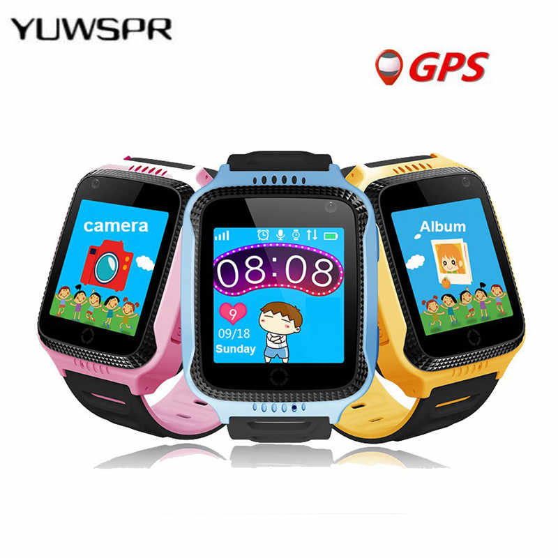 1pcs hot GPS tracking watch for kids Flashlight Camera Baby Watches touch Screen SOS Call Location Smart wristwatches Q528 Y21