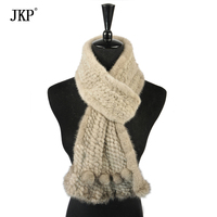 Women real Mink Fur Scarf Knitted Natural Mink Fur Scarves Fashion Knitted Shawl