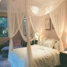 Ventas calientes 1 unid Elegante Insectos Lace Bed Canopy Red Curtain Dome Mosquito Net Worldwide 4 Puertas Abiertas para las Camas