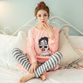 Новый 2016 Весна Осень женская С Длинным Рукавом Пижамы Множеств Женщины Пижамы Пижамы для женщин повседневная lounge сна девушки pijama