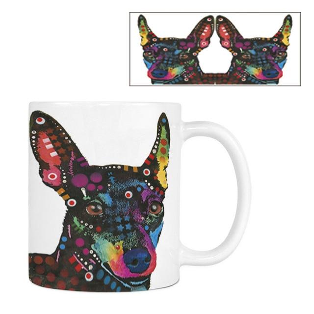 Lustige Mops Pitbull Kaffeetasse Niedlichen Hund Weiss Keramik