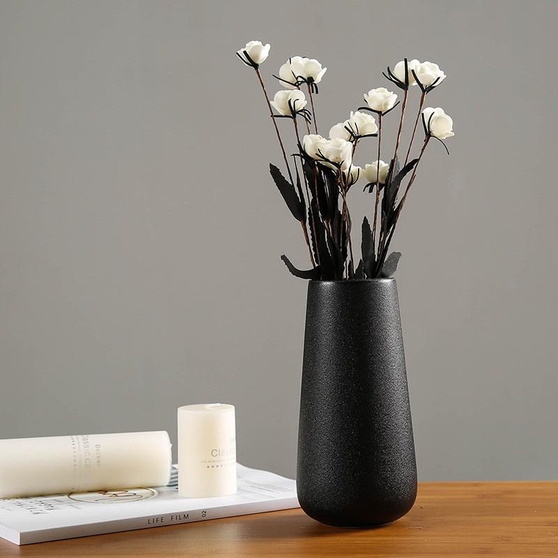 Classic Ceramic White Black Flower Vase