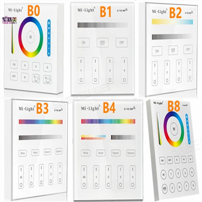 Milight B0 B1 B2 B3 B4 B8 4-La Zona 8 zona inalámbrico de 2,4 GHz WiFi táctil panel de atenuador de luz/RGBW/RGB + CCT LED Smart controlador remoto